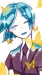1other androgynous aqua_hair blue_hair bug butterfly closed_eyes colored_eyelashes crystal_hair eyebrows_visible_through_hair gem_uniform_(houseki_no_kuni) happy highres houseki_no_kuni insect necktie open_mouth phosphophyllite short_hair smile solo upper_body yellow_butterfly