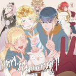 ! 1boy 5girls alfonse_(fire_emblem) anna_(fire_emblem) anniversary bird black_gloves blonde_hair blue_eyes blue_hair braid breasts brother_and_sister cake cleavage closed_eyes closed_mouth copyright_name crown crown_braid dress earrings eating eir_(fire_emblem) feh_(fire_emblem_heroes) fire_emblem fire_emblem_heroes fjorm_(fire_emblem_heroes) food fork from_side gloves gradient_hair grey_hair hair_ornament holding holding_fork jewelry krazehkai long_hair long_sleeves looking_to_the_side medium_breasts multicolored_hair multiple_girls nintendo open_mouth owl parted_lips pink_hair ponytail red_eyes redhead sharena short_hair short_sleeves siblings smile spoken_exclamation_mark summoner_(fire_emblem_heroes) v veronica_(fire_emblem)