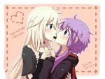 2girls aqua_eyes arm_around_back blonde_hair blush collarbone commentary_request dated english_text face-to-face heart hood hood_down hoodie ia_(vocaloid) jazu long_hair long_sleeves looking_at_another low_twintails mouth_hold multiple_girls purple_hair short_hair_with_long_locks short_sleeves signature sweat twintails upper_body violet_eyes vocaloid yuri yuzuki_yukari
