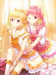 2girls bang_dream! bangs blonde_hair blush boots bow bowtie breasts choker closed_mouth collarbone curtains day dress frilled_dress frills hair_bow hair_ribbon highres hug indoors knee_boots knee_up light_particles long_hair looking_at_viewer lunacle maruyama_aya multiple_girls neck_ribbon one_eye_closed orange_choker orange_neckwear pink_bow pink_choker pink_eyes pink_hair pink_neckwear plaid plaid_ribbon ponytail ribbon shirasagi_chisato short_sleeves sidelocks sitting small_breasts smile twintails violet_eyes white_dress white_footwear wrist_cuffs yellow_ribbon