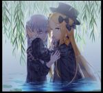 2girls abigail_williams_(fate/grand_order) alle_gro bad_id bad_pixiv_id bags_under_eyes bangs black_border black_bow black_dress black_hat blonde_hair blue_eyes border bow closed_mouth commentary_request dress fate/grand_order fate_(series) fingernails hair_bow hand_in_another's_hair hat lavinia_whateley_(fate/grand_order) long_hair long_sleeves looking_at_viewer mouth_hold multiple_girls orange_bow pale_skin parted_bangs partially_submerged silver_hair sleeves_past_wrists standing very_long_hair violet_eyes water wide-eyed