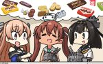 3girls ahoge akizuki_(kantai_collection) black_eyes black_hair black_sailor_collar blue_shirt breasts brown_eyes brown_hair chocolate chou-10cm-hou-chan cleavage closed_eyes clothes_writing commentary_request dated dress fang ferrero ferrero_rocher hachimaki hair_ribbon hamu_koutarou headband highres johnston_(kantai_collection) kantai_collection libeccio_(kantai_collection) light_brown_hair long_hair m&m's medium_breasts meiji_(brand) multiple_girls neckerchief off_shoulder open_mouth ponytail ribbon sailor_collar sailor_dress school_uniform serafuku shirt sleeveless sleeveless_dress snickers twintails yellow_neckwear