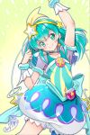 1girl 2019 arm_up armpits back_bow bloomers blue_bow blue_eyes blue_hair blue_neckwear bow choker closed_mouth cure_milky earrings hagoromo_lala hair_ornament jewelry long_hair looking_at_viewer magical_girl pointy_ears precure puffy_sleeves see-through signature smile solo star star_earrings star_hair_ornament star_in_eye star_twinkle_precure symbol_in_eye tsurugi_hagane underwear wrist_cuffs yellow_background