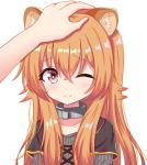 1girl animal_ear_fluff animal_ears bangs blush brown_hair closed_mouth collarbone commentary_request eyebrows_visible_through_hair grey_shirt hair_between_eyes long_hair one_eye_closed out_of_frame petting raccoon_ears raphtalia red_eyes ribbed_shirt satori_(ymoy) shirt simple_background solo_focus tate_no_yuusha_no_nariagari upper_body white_background