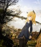 1girl animal_ears ascot bare_tree blonde_hair breasts cat_ears cat_tail clouds dutch_angle from_side glasses highres house kabuyama_kaigi lake long_hair military military_uniform open_mouth outdoors panties panties_under_pantyhose pantyhose perrine_h_clostermann sketch sky small_breasts solo strike_witches tail tree underwear uniform world_witches_series yellow_eyes