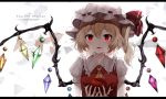 1girl apple arms_up artist_name blonde_hair breasts character_name chinese_commentary commentary_request cravat crystal dated fangs fingernails flandre_scarlet food fruit hat hat_ribbon highres holding holding_food holding_fruit letterboxed looking_at_viewer mixed-language_commentary mob_cap nail_polish open_mouth parted_lips puffy_short_sleeves puffy_sleeves red_eyes red_nails red_vest ribbon shirt short_hair short_sleeves side_ponytail slit_pupils small_breasts snozaki solo touhou upper_body vest white_background white_shirt wings yellow_neckwear