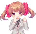 1girl :3 :d bangs black_neckwear blazer blush bow brown_hair clenched_hand finger_to_cheek grey_jacket hair_bow hand_up jacket komachi_pochi long_sleeves looking_at_viewer neck_ribbon open_mouth original pink_cardigan red_bow ribbon simple_background smile solo twintails upper_body violet_eyes white_background