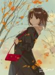 1girl autumn autumn_leaves bag bangs black_coat blue_sky brown_eyes brown_hair carrying casual closed_mouth clouds cloudy_sky commentary dated day eyebrows_visible_through_hair from_side frown girls_und_panzer handbag leaf long_sleeves macho_ojiji nishizumi_maho outdoors short_hair sky solo standing tree twitter_username wind