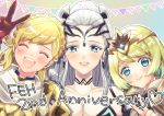 3girls anniversary armor blonde_hair blue_eyes braid breasts cleavage closed_eyes closed_mouth crown crown_braid earrings eir_(fire_emblem) fire_emblem fire_emblem_heroes fjorm_(fire_emblem_heroes) gloves hair_ornament hasebe_(17_feh) jewelry long_hair medium_breasts multiple_girls nintendo open_mouth sharena short_hair silver_hair smile v