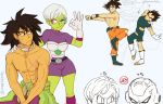 2girls 5boys anger_vein annoyed broly_(dragon_ball_super) bulma cheelai commentary dancing dragon_ball dragon_ball_super dragon_ball_super_broly english_commentary food frieza fruit fusion_dance leg_up multiple_boys multiple_girls outstretched_arms peachierue piccolo scar scouter shirtless simple_background son_gokuu sparkle twitter_username vegeta white_background