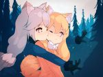 2girls animal_ear_fluff animal_ears bakadebiru biting blush bow bowtie coat commentary eyebrows_visible_through_hair ezo_red_fox_(kemono_friends) fox_ears fox_tail fur_trim gloves highres hug hug_from_behind kemono_friends long_hair long_sleeves multiple_girls necktie one_eye_closed orange_eyes orange_hair outstretched_arms outstretched_hand silver_fox_(kemono_friends) silver_hair tail