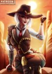 1girl artist_name ashe_(overwatch) asymmetrical_hair between_breasts black_gloves black_nails bowler_hat breasts chaps coattails contrapposto cowboy_hat cowboy_shot day dynamite eyeliner fingerless_gloves g gloves glowing glowing_eyes green_eyes gun hair_over_one_eye hat height_difference highres holding holding_dynamite lips lipstick looking_at_viewer luminyu makeup medium_breasts mole_above_mouth nail_polish necktie necktie_between_breasts outdoors overwatch pants patreon_username red_eyes sleeves_pushed_up slender_waist tattoo waistcoat weapon white_hair