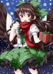 1girl :d black_hair box brown_wings cape center_frills eyebrows_visible_through_hair feathered_wings frilled_skirt frills gift gift_box green_ribbon green_skirt hair_between_eyes hair_ribbon highres long_hair looking_at_viewer open_mouth ponytail puffy_short_sleeves puffy_sleeves red_eyes red_scarf reiuji_utsuho ribbon ruu_(tksymkw) scarf short_sleeves skirt smile snowing solo spread_wings third_eye touhou very_long_hair wavy_hair white_cape wings