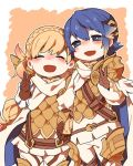 1boy 1girl alfonse_(fire_emblem) armor belt blonde_hair blue_eyes blue_hair braid brother_and_sister brown_gloves cape closed_eyes crown_braid fire_emblem fire_emblem_heroes gloves gradient_hair hair_ornament long_hair long_sleeves multicolored_hair nintendo open_mouth pink_hair sharena short_hair shunrai siblings skirt v white_skirt