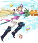 1boy alternate_costume animal_ears blonde_hair boots bunny_tail cape carrot easter_egg egg fire_emblem fire_emblem_heroes fire_emblem_if flower full_body gloves hat highres leaf male_focus marks_(fire_emblem_if) nintendo official_art open_mouth rabbit rabbit_ears red_eyes suekane_kumiko tail teeth tiara transparent_background