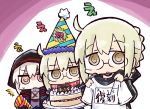 /\/\/\ 3girls :o artoria_pendragon_(all) bangs birthday_cake black_jacket blonde_hair brown_eyes cake commentary_request diagonal_stripes eyebrows_visible_through_hair fate/grand_order fate_(series) food glasses gym_shirt hair_between_eyes hat holding holding_plate holding_shirt jacket kasuga_yuuki long_sleeves multiple_girls mysterious_heroine_x_(alter) name_tag parted_lips party_hat party_popper plate red_scarf scarf shirt short_sleeves sidelocks striped striped_hat track_jacket translation_request wavy_mouth white_shirt
