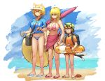 3girls absurdres animal_ears arms_at_sides backpack bag beach beach_umbrella bikini black_eyes blonde_hair blue_bikini blue_bikini_bottom blue_shirt blue_sky breasts brown_hair cat_ears cat_tail chanta_(ayatakaoisii) chen clenched_hand clouds competition_swimsuit crab day drink earrings expressionless flat_chest fox_tail green_hat hat highres hips holding_drink horizon innertube jewelry knees large_breasts legs looking_afar multiple_girls multiple_tails ocean one-piece_swimsuit orange_shirt pink_bikini pink_bikini_top pink_sarong purple_umbrella sandals shiny shiny_hair shirt short_sleeves sidelocks sky slit_pupils standing stomach summer sunglasses sweatdrop swimsuit tail thighs touhou two_tails umbrella visor_cap wavy_hair yakumo_ran yakumo_yukari yellow_eyes