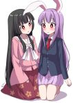 2girls animal_ears bangs black_hair blouse blunt_bangs blush bow bright_pupils commentary_request eyebrows_visible_through_hair floral_print head_tilt highres hime_cut houraisan_kaguya japanese_clothes kneeling lavender_hair lavender_skirt leaf_print long_hair long_sleeves multiple_girls necktie open_mouth pink_blouse pleated_skirt rabbit_ears red_eyes red_neckwear red_skirt reisen_udongein_inaba seiza shadow sidelocks simple_background sitting skirt suit_jacket tabi touhou tsukimirin very_long_hair white_background white_bow white_legwear white_pupils