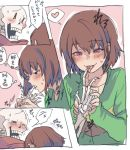 1boy androgynous blush brown_hair chara_(undertale) comic finger_in_another's_mouth finger_licking green_shirt heart licking open_mouth papyrus_(undertale) red_eyes scarf shirt short_hair shousan_(hno3syo) skeleton smile source_request undertale