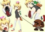 >_< 1girl all_fours bangs bare_shoulders black_collar black_leotard blonde_hair blue_eyes blush bowsette bracelet breathing_fire bullet_bill child collar covered_navel crown eyebrows_visible_through_hair fang fang_out fire goomba highres horns jewelry leotard looking_at_viewer looking_back mario_(series) multiple_views new_super_mario_bros._u_deluxe nintendo ogyadya pointy_ears red_footwear sharp_teeth short_hair spiked_anklet spiked_armlet spiked_bracelet spiked_collar spiked_shell spiked_tail spikes standing super_crown tail teeth thigh-highs turtle_shell tusks yawning younger