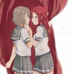 2girls absurdres blue_eyes blush chin_grab curtain_grab curtains grey_hair grey_skirt hair_ornament hairclip half_updo hand_on_another's_chin highres long_hair looking_at_another love_live! love_live!_sunshine!! miniskirt multiple_girls neckerchief pleated_skirt red_neckwear redhead sakurauchi_riko school_uniform serafuku short_hair short_sleeves skirt smile stage_curtains tie_clip translated uranohoshi_school_uniform watanabe_you yellow_eyes yuchi_(salmon-1000) yuri