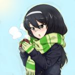 1girl bangs black_hair blue_background blue_coat blush breath brown_eyes can chestnut_mouth commentary fringe_trim girls_und_panzer gloves green_gloves green_scarf hairband highres holding holding_can long_hair long_sleeves onsen_tamago_(hs_egg) open_mouth reizei_mako scarf soda_can solo striped striped_gloves striped_scarf upper_body white_hairband