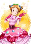 1girl ;p aikatsu! aikatsu!_(series) arisugawa_otome blush bow catchphrase character_name commentary double_bun dress drill_hair earrings flower frilled_dress frills gloves hair_bow highres idol jewelry kurose_kousuke looking_at_viewer necklace one_eye_closed orange_hair pink_dress pink_gloves reaching_out red_eyes shiny shiny_hair short_hair short_sleeves smile solo tongue tongue_out twin_drills two-tone_background upper_body wrist_cuffs