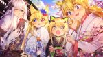 1boy 4girls :3 :d :o animal_ears bangs black_kimono blonde_hair blue_eyes blue_flower blue_sky blurry blurry_foreground blush brown_hair calligraphy_brush cat_ear_headphones cat_ears checkered clouds cloudy_sky commander_(girls_frontline) commentary_request day depth_of_field eyebrows_visible_through_hair fingernails floral_print flower g41_(girls_frontline) girls_frontline hair_between_eyes hair_flower hair_ornament half-closed_eye headphones heterochromia highres holding holding_paintbrush idw_(girls_frontline) japanese_clothes kar98k_(girls_frontline) kimono long_hair long_sleeves low_twintails multiple_girls obi one_eye_closed open_mouth out_of_frame outdoors paintbrush pink_flower print_kimono red_eyes sash shennai_misha sky sleeves_past_fingers sleeves_past_wrists smile striped tmp_(girls_frontline) tree_branch twintails vertical-striped_kimono vertical_stripes very_long_hair white_hair white_kimono wide_sleeves