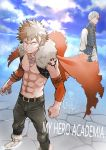 2boys 55level alternate_costume angry bakugou_katsuki bare_chest belt blonde_hair blue_jacket boku_no_hero_academia boots brown_belt brown_legwear cape clouds cloudy_sky commentary_request day detached_sleeves earrings elbow_sleeve full_body fur-trimmed_boots fur-trimmed_cape fur_trim highres jacket jewelry long_sleeves multicolored_hair multiple_boys muscle necklace orange_sleeves outdoors pants redhead shirt short_hair shoulder_tattoo sky sleeveless sleeveless_jacket spiky_hair standing tattoo title todoroki_shouto torn_clothes two-tone_hair v-shaped_eyebrows white_footwear white_hair white_legwear white_shirt