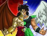 2boys angel_wings animefreak93867 armor black_eyes black_hair blue_background boots bracelet broly broly_(dragon_ball_super) demon_horns demon_wings dragon_ball dragon_ball_super dragonball_z dual_persona earrings fire frown halo highres horns jewelry long_hair male_focus multiple_boys muscle necklace red_background scar spiky_hair wings wristband
