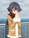1girl bangs black_hair blush braid breath brown_hair casual clouds cloudy_sky coat commentary_request cowboy_shot day eyebrows_visible_through_hair fringe_trim fur-trimmed_coat fur_trim girls_und_panzer grey_sky highres ocean open_mouth outdoors partial_commentary pepperoni_(girls_und_panzer) plaid plaid_scarf railing red_scarf ruka_(piyopiyopu) scarf short_hair side_braid sky solo standing warming_hands winter_clothes