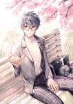 1boy amamiya_ren bench black-framed_eyewear black_pants cat cherry_blossoms day glasses grey_eyes grey_jacket hair_between_eyes jacket looking_at_viewer male_focus maokezi morgana_(persona_5) open_clothes open_jacket outdoors pants persona persona_5 print_pants shirt silver_hair sitting solo white_shirt