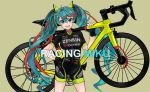 1girl :d beige_background bicycle bike_shorts black_gloves blush breasts character_name commentary_request contrapposto english_text eyebrows_visible_through_hair fingerless_gloves floatingapple gloves green_eyes green_hair ground_vehicle hair_between_eyes hand_on_hip hatsune_miku headphones highres large_breasts looking_at_viewer multicolored_hair open_mouth racing_miku redhead smile solo standing streaked_hair twintails v-shaped_eyebrows vocaloid watermark