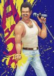 1boy absurdres belt black_hair chanta_(ayatakaoisii) chest_hair clenched_hand denim facial_hair freddie_mercury highres holding holding_microphone holding_microphone_stand jeans male_focus manly microphone muscle music mustache open_clothes open_mouth paint_splatter pants queen_(band) singing solo tank_top teeth