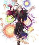 1boy alternate_costume blonde_hair boots fan fire_emblem fire_emblem_heroes fire_emblem_if fireworks full_body highres japanese_clothes kimono male_focus marks_(fire_emblem_if) mask mask_on_head nintendo official_art open_mouth p-nekor red_eyes solo teeth transparent_background
