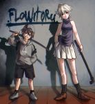 .flow 1boy 1girl arm_up backpack backwards_hat bag bangs black_backpack black_legwear black_shorts blue_eyes breasts brown_footwear chromatic_aberration clothes_writing full_body grey_footwear grey_hair grey_hat grey_jacket hair_between_eyes hand_in_pocket hat height_difference highres holding holding_pipe holding_sword holding_weapon jacket katana lead_pipe looking_at_viewer pipe pleated_skirt purple_shirt red_eyes sabitsuki shirt short_hair shorts shousan_(hno3syo) skirt sleeveless sleeveless_shirt small_breasts socks standing sword weapon white_skirt witoru wooden_floor yongoh