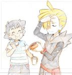 2boys black_hair blonde_hair blush creatures_(company) game_freak gladio_(pokemon) hot_dog multiple_boys nintendo pokemon pokemon_(anime) pokemon_sm_(anime) satoshi_(pokemon) shinohara_takashi soft_drink z-ring