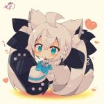 1girl :< ahoge animal_ears black_legwear black_ribbon blue_eyes blue_neckwear blush braid brown_background chibi commentary_request fox_ears fox_girl fox_tail full_body grey_hair hair_ribbon handheld_game_console heart highres holding holding_handheld_game_console hololive long_sleeves muuran neckerchief pantyhose parted_lips ribbon shirakami_fubuki shirt signature sleeves_past_fingers sleeves_past_wrists solo standing tail translation_request triangle_mouth virtual_youtuber white_shirt