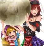 2girls :d ^_^ akehi_yuki american_flag_dress arms_up bangs bare_shoulders black_choker black_shirt blonde_hair blue_dress blush breasts chains choker cleavage closed_eyes closed_eyes clownpiece commentary_request cowboy_shot dress eyebrows_visible_through_hair facing_viewer green_skirt hat hecatia_lapislazuli holding jester_cap large_breasts long_hair moon_(ornament) multicolored multicolored_clothes multicolored_skirt multiple_girls nail_polish neck_ruff off-shoulder_shirt off_shoulder open_mouth plaid plaid_skirt polka_dot polka_dot_hat polos_crown purple_hat purple_skirt red_dress red_nails red_skirt redhead shirt short_sleeves simple_background skirt smile standing star star_print striped striped_dress sweat swept_bangs t-shirt touhou upper_body violet_eyes white_background white_dress