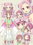 2girls :d :o arms_around_neck back_bow bare_shoulders baseball_cap blush bow commentary_request cure_yell earrings eyelashes eyeliner flower food hair_flower hair_ornament hair_ribbon hands_together hat heart homing_(areya) hug hug_from_behind hugtto!_precure jewelry long_hair magical_girl makeup multiple_girls nono_hana nono_kotori open_mouth pink_eyes pink_hair pink_skirt pom_poms precure ribbon short_hair siblings sisters skirt sleeping smile speech_bubble takoyaki thigh-highs translation_request twintails white_legwear younger
