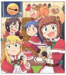 5girls :d :i ahoge amami_haruka antenna_hair bangs bell belt black_eyes black_gloves blonde_hair blue_hair blush bow bowtie brown_eyes brown_hair cake capelet christmas christmas_tree commentary double-breasted eating eyebrows_visible_through_hair food full_moon fur_trim gloves green_eyes hair_bell hair_bow hair_ornament holding holding_food holding_sock hoshii_miki idolmaster idolmaster_million_live! idolmaster_million_live!_theater_days indoors kikuchi_makoto kisaragi_chihaya long_hair looking_at_viewer medium_hair moon multiple_girls night night_sky onigiri open_mouth orange_hair reindeer santa_claus santa_costume short_hair sidelocks sky sleigh smile striped striped_bow takatsuki_yayoi thigh-highs tsubobot twintails window