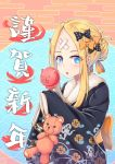 1girl abigail_williams_(fate/grand_order) absurdres alternate_hairstyle bangs black_bow black_kimono blonde_hair blue_eyes blush bow candy_apple commentary_request crossed_bandaids earrings egasumi fate/grand_order fate_(series) floral_print food hair_bow hair_bun hair_up hands_up highres holding holding_food japanese_clothes jewelry kimono long_hair long_sleeves looking_at_viewer orange_bow parted_bangs parted_lips polka_dot polka_dot_bow print_kimono sidelocks sleeves_past_fingers sleeves_past_wrists solo stuffed_animal stuffed_toy teddy_bear translation_request upper_body zongren