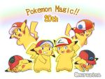 1boy black_eyes brown_eyes creatures_(company) game_freak gen_1_pokemon grin hat multiple_persona muraziti-zu nintendo pikachu pikachu_day pokemon pokemon_(anime) satoshi_(pokemon) smile