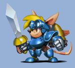 1boy animal_ears armor blonde_hair blue_armor blue_background brown_eyes chibi clenched_hands commentary english_commentary from_side full_armor full_body furry gauntlets goggles goggles_on_head greaves headgear holding holding_weapon male_focus nose pauldrons rocket_knight_adventures simon_stafsnes_andersen snout solo sparkster sword tail thrusters weapon whiskers