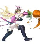 1boy alternate_costume animal_ears back blonde_hair boots bunny_tail cape carrot fire_emblem fire_emblem_heroes fire_emblem_if flower full_body gloves hat highres injury leaf male_focus marks_(fire_emblem_if) nintendo official_art rabbit rabbit_ears red_eyes suekane_kumiko tail teeth tiara torn_clothes transparent_background