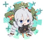 1girl :d antenna_hair bangs black_dress black_footwear black_jacket blue_eyes blush braid chains chibi commentary_request dress eyebrows_visible_through_hair hair_between_eyes hair_ornament holding holding_hammer holding_weapon jacket kizuna_akari long_hair long_sleeves looking_at_viewer low_twintails milkpanda monster_hunter open_clothes open_jacket open_mouth orange_legwear shoes sidelocks silver_hair sleeves_past_fingers sleeves_past_wrists smile solo striped striped_legwear twin_braids twintails upper_teeth vertical-striped_legwear vertical_stripes very_long_hair vocaloid voiceroid weapon x