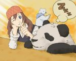 1girl bandanna bear blue_eyes braid brown_hair long_hair panda panda_(shirokuma_cafe) polar_bear sasako_(shirokuma_cafe) shirokuma_(shirokuma_cafe) shirokuma_cafe smile sumikarasu twin_braids