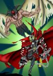 2boys cape chains claws crossover demon demon_wings devilman devilman_(character) glowing glowing_eyes green_eyes gun head_wings highres holding holding_gun holding_weapon image_comics kyuhri_miyazato male_focus mask multiple_boys skull spawn spawn_(spawn) spikes superhero tail weapon wings