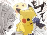 1boy 1girl cape creatures_(company) female_my_unit_(fire_emblem:_kakusei) fire_emblem fire_emblem:_kakusei game_freak gen_1_pokemon gloves headbutt krom long_hair mamkute my_unit_(fire_emblem:_kakusei) nintendo open_mouth pikachu pokemon pokemon_(creature) robe sayoyonsayoyo short_hair simple_background super_smash_bros. super_smash_bros._ultimate twintails white_hair