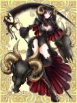 black_hair black_legwear black_skirt blue_eyes breasts cleavage covered_navel groin hairband holding holding_scythe hood hoof horns kerberos_blade large_breasts leotard long_sleeves looking_at_viewer official_art ram_skull red_eyes scythe sheep_horns skirt skull standing standing_on_one_leg thigh-highs yinji